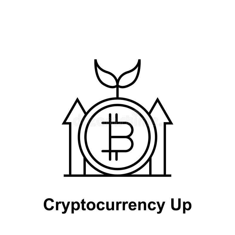 Bitcoin upp pilöversiktssymbol Beståndsdel av bitcoinillustrationsymboler Tecknet och symboler kan användas för rengöringsduken,  stock illustrationer