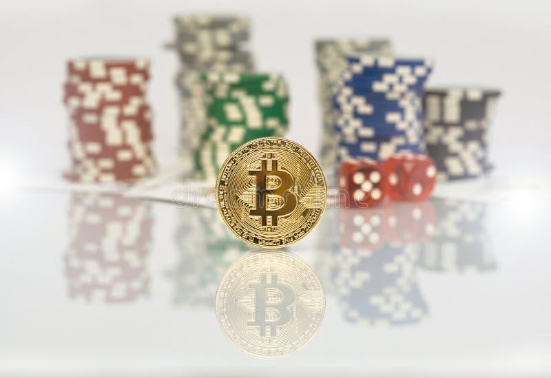Bitcoin uprawia hazard grę z grzebaków układami scalonymi zdjęcie stock