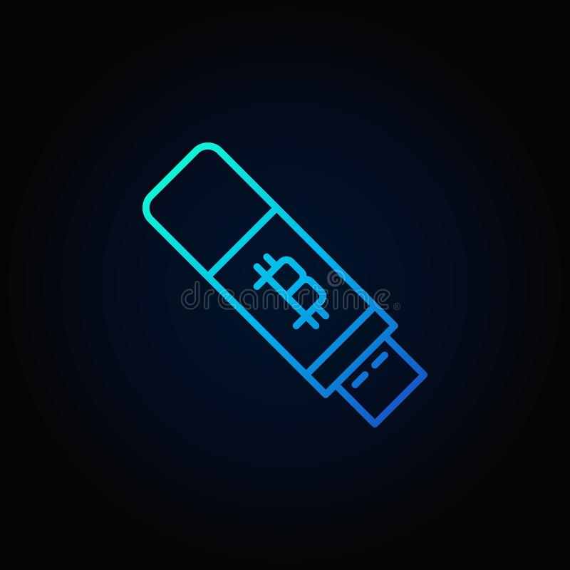 Bitcoin usb flash blue icon - vector cryptocurrency key sign royalty free illustration