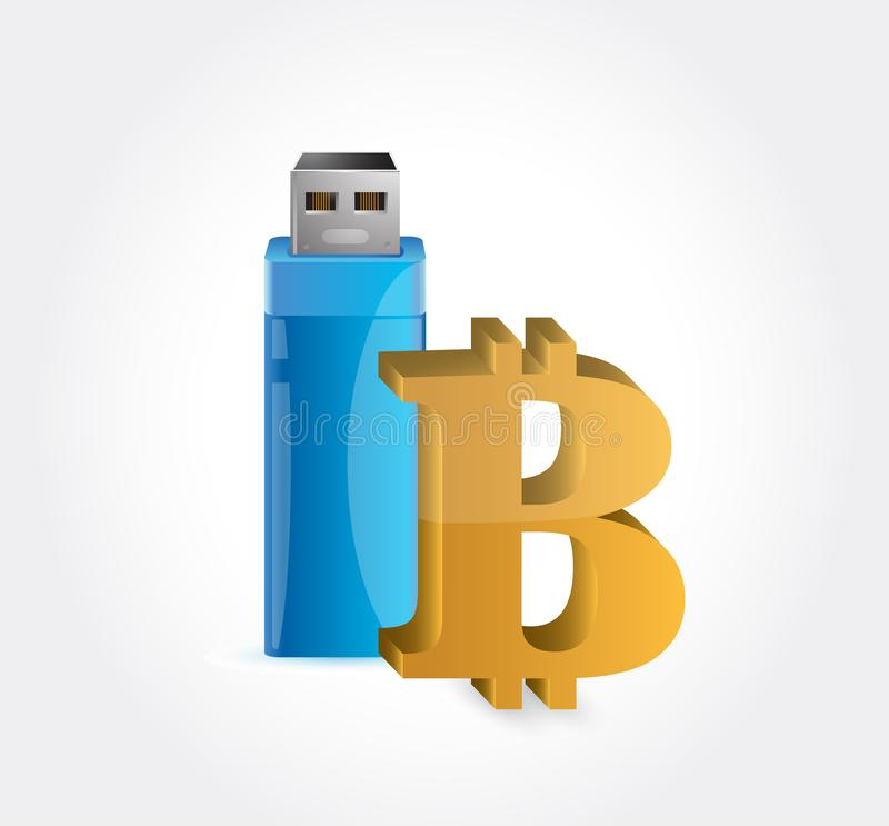bitcoin and USB vector illustration