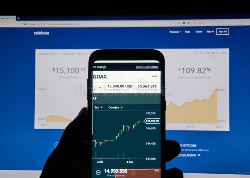 Bitcoin USD Price On Coinbase Android App Editorial Photography