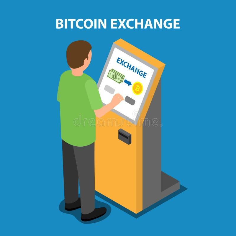 Bitcoin utbyte i betalningterminalen stock illustrationer