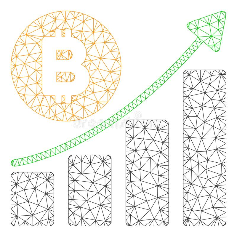 Bitcoin v?xande trendvektor Mesh Network Model vektor illustrationer