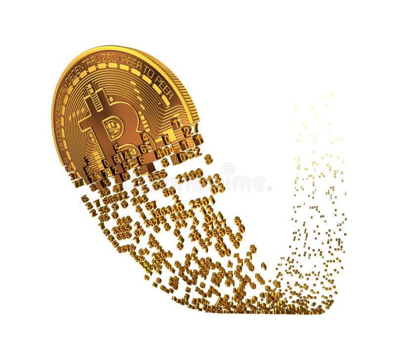 Bitcoin va après un automne et avoir tombé en morceaux aux chiffres illustration stock