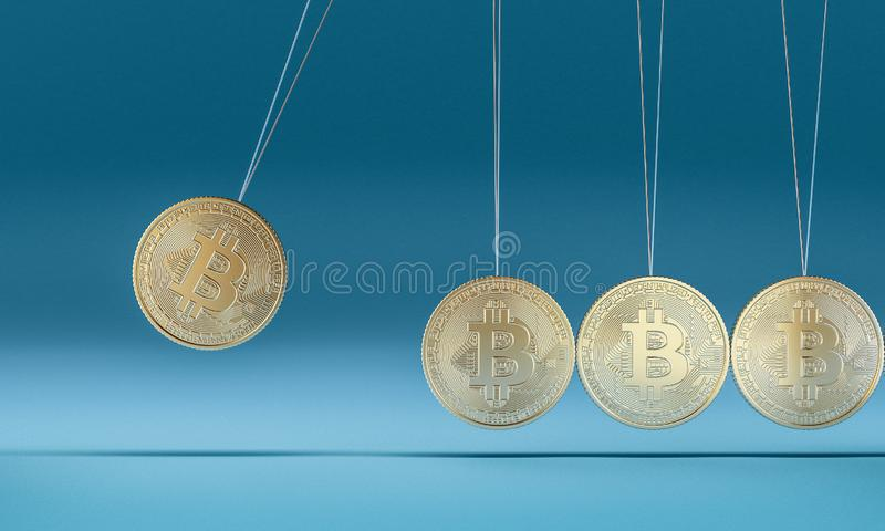 Bitcoin vagga 3d royaltyfri illustrationer
