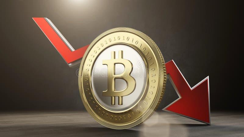 Bitcoin value decreases. 3D render. Bitcoin price value decreases concept - 3D render stock illustration