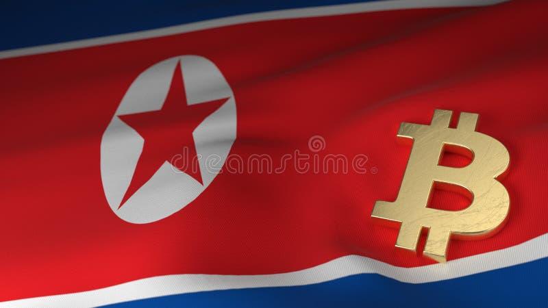 Bitcoin valutasymbol på flagga av Nordkorea arkivbild