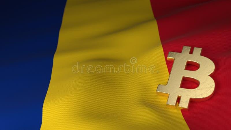 Bitcoin valutasymbol på flagga av Rumänien royaltyfri fotografi