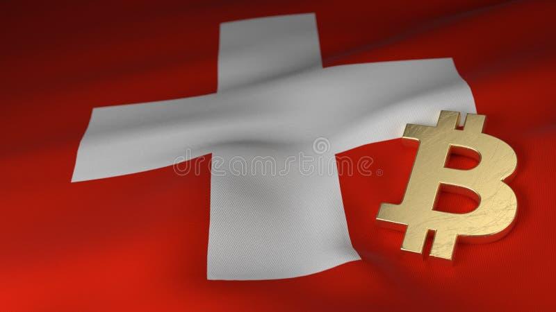 Bitcoin valutasymbol på flagga av Schweiz royaltyfri illustrationer