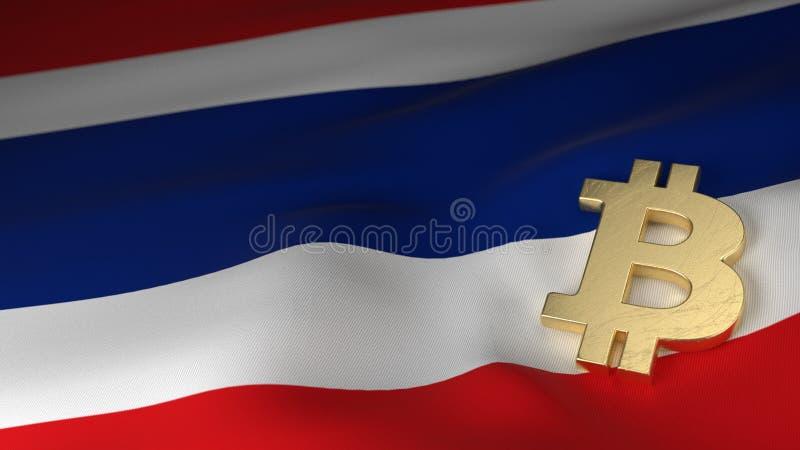 Bitcoin valutasymbol på flagga av Thailand royaltyfri fotografi