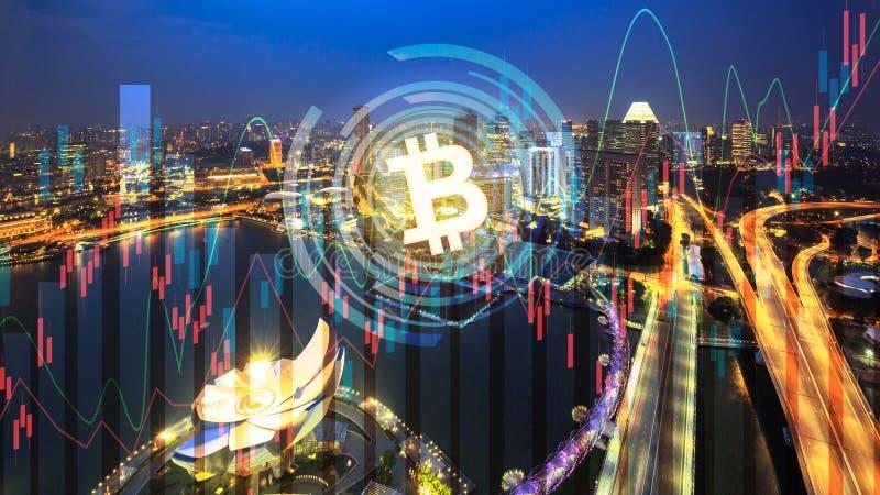 Bitcoin van de de bedrijfs effectenbeursinvestering van de handeluitwisseling grafiek op stad stock fotografie