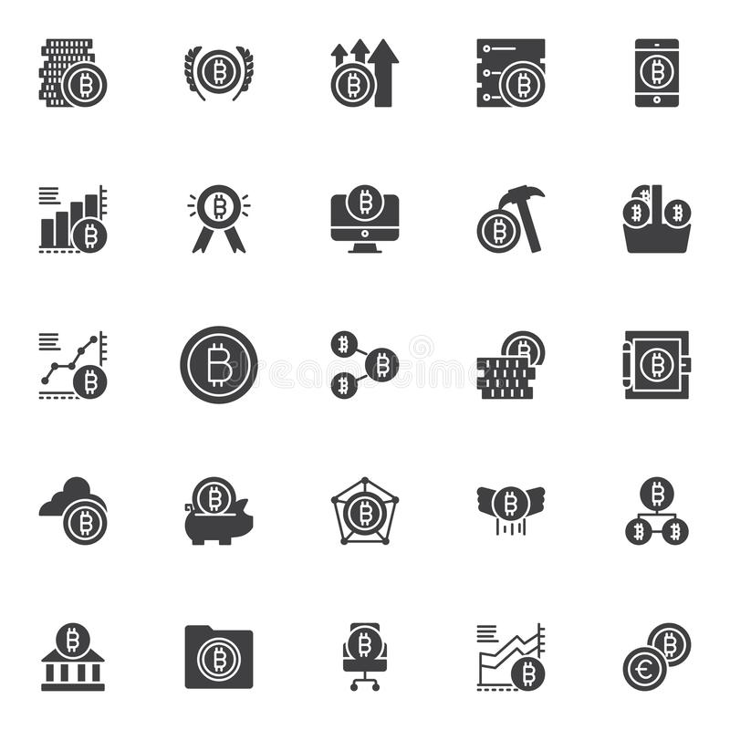 Bitcoin vector icons set vector illustration