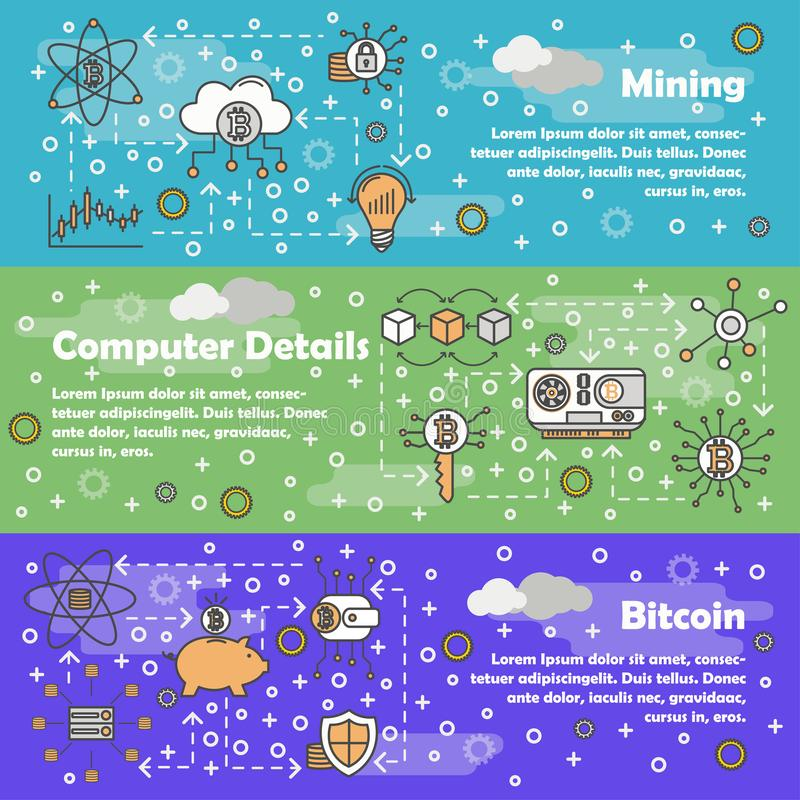 Vector thin line bitcoin web banner template set vector illustration