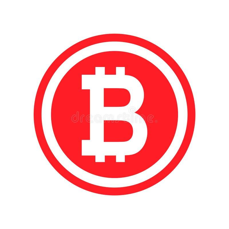 Bitcoin vectorpictogram, symbool in vlak digitaal ontwerp App Internet Web stock illustratie