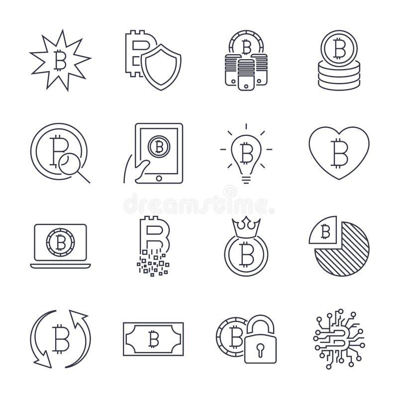 Bitcoin verschillende die pictogrammen voor Internet-geldcrypto valutasymbool en muntstukbeeld worden geplaatst voor het gebruike royalty-vrije illustratie