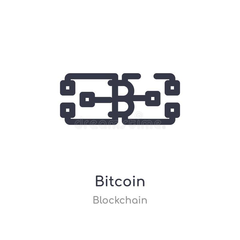 Bitcoin ?versiktssymbol isolerad linje vektorillustration fr?n blockchainsamling redigerbar tunn slaglängdbitcoinsymbol på vit vektor illustrationer