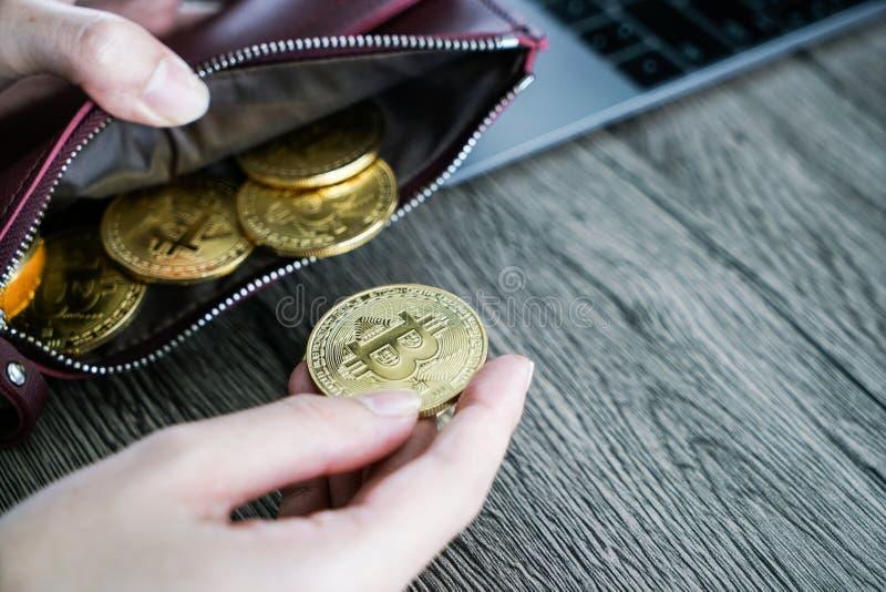 Bitcoin virtual del oro de la cartera de la moneda cartera del ordenador portátil del bitcoin bit foto de archivo