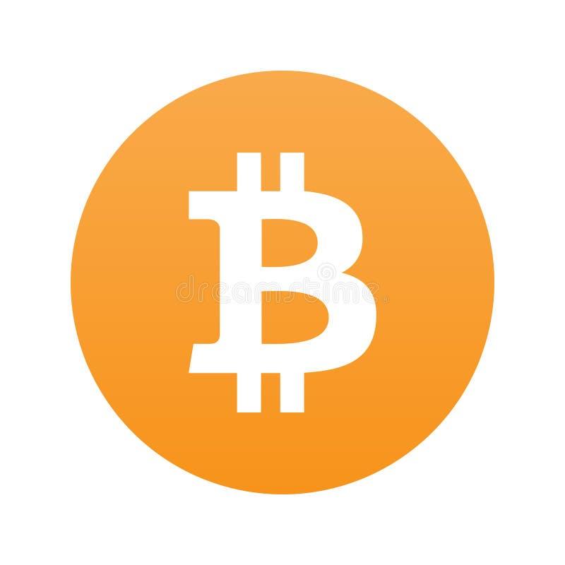 Bitcoin vlak die pictogram op oranje BG wordt geïsoleerd vector illustratie