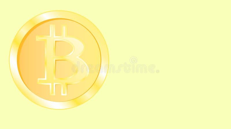 Bitcoin volumétrique jaune miroitant lumineux de pièce de monnaie en métal d'or beau Face les pièces de monnaie du bitcoin sur un illustration de vecteur