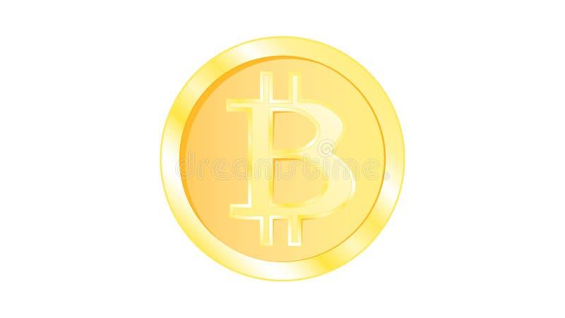 Bitcoin volumétrique jaune miroitant lumineux de pièce de monnaie en métal d'or beau Face d'un bitcoin de pièce de monnaie sur un illustration stock