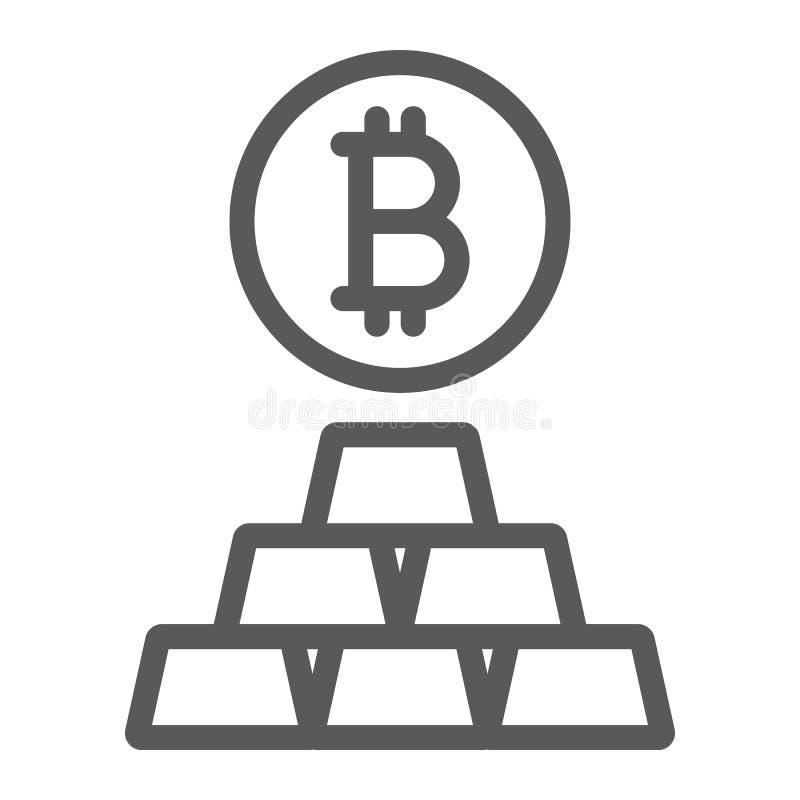 Bitcoin vs den guld- linjen symbol, finans och pengar stock illustrationer