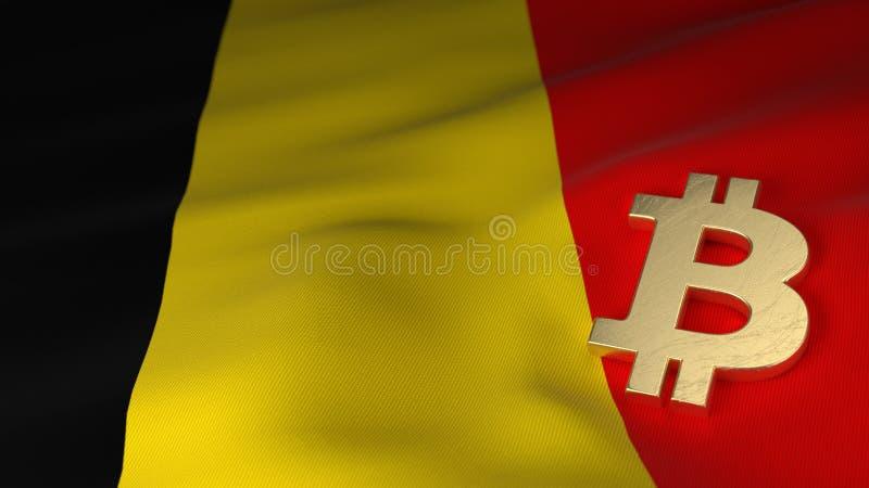 Bitcoin-Währungszeichen auf Flagge von Belgien stockfotografie