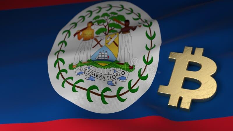 Bitcoin-Währungszeichen auf Flagge von Belize lizenzfreie stockfotografie