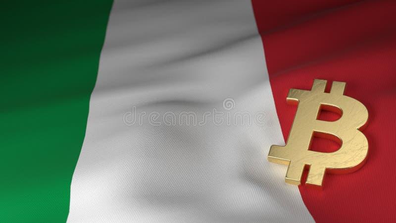 Bitcoin-Währungszeichen auf Flagge von Italien lizenzfreie abbildung