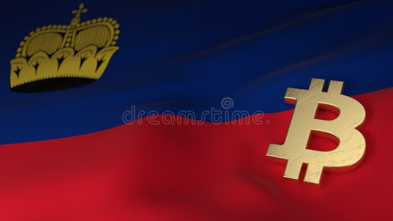 Bitcoin-Währungszeichen auf Flagge von Liechtenstein lizenzfreie abbildung