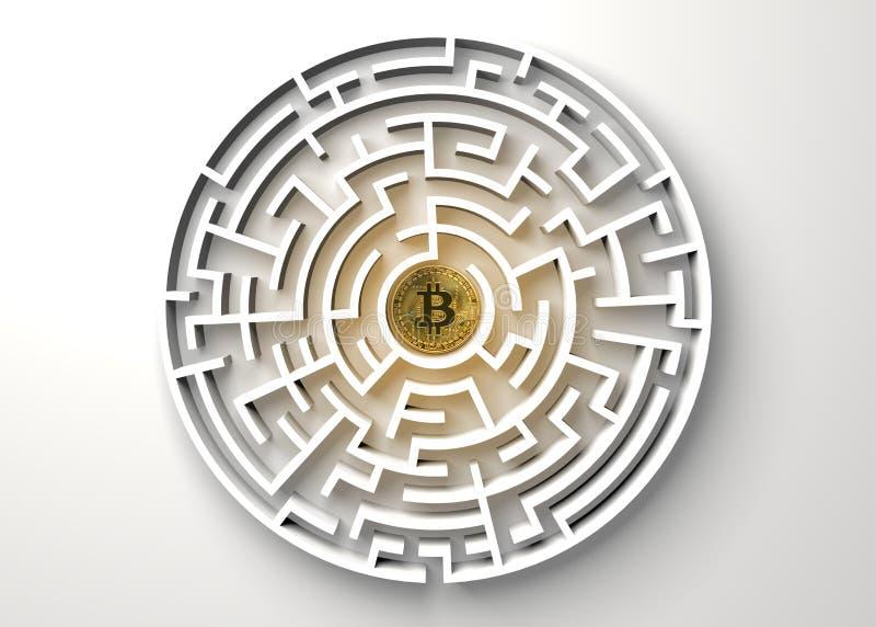 Bitcoin w środkowym punkcie labiryntu widok od above ilustracji