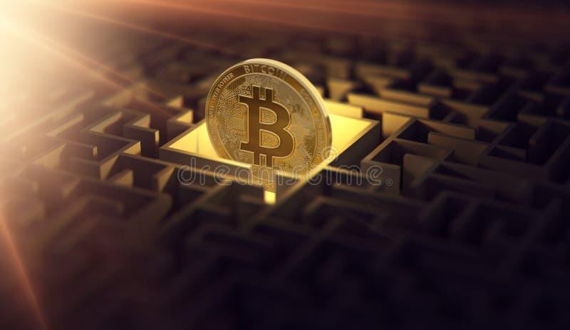 Bitcoin w ciemnym labityncie i jaskrawy słońce migoczemy jako znak dobrobyt Jest Bitcoin gubjący Konceptualny projekt świadczenia ilustracja wektor