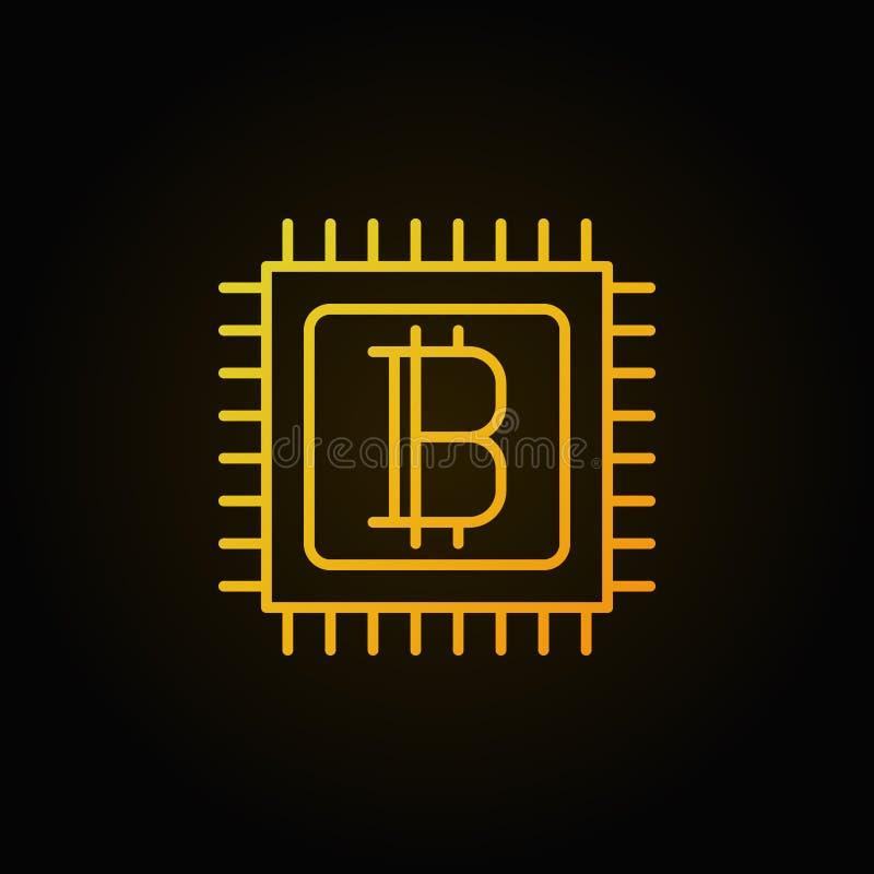 Bitcoin w mikroprocesor złotej liniowej ikonie ilustracji