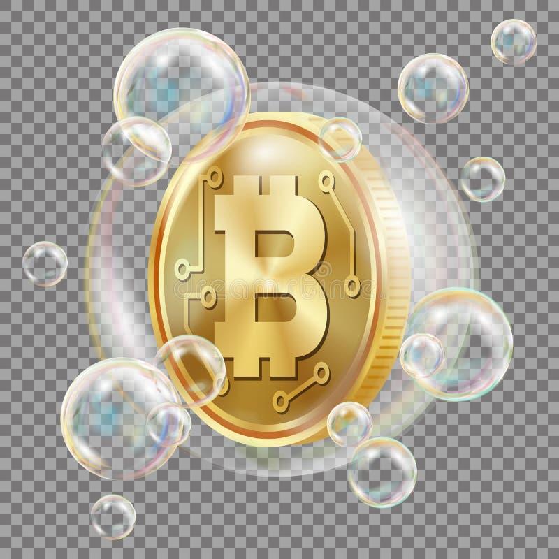 Bitcoin W Mydlanego bąbla wektorze Inwestorski ryzyko Bitcoin trzaska Digital pieniądze Crypto rynek walutowy Realistyczny odosob royalty ilustracja
