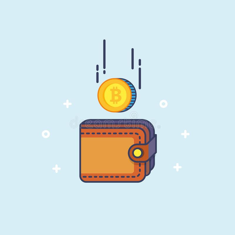 Bitcoin and the wallet. Coin drops in purse. Most valuable cryptocurrency with huge market capitalization. Mining concept royalty free illustration