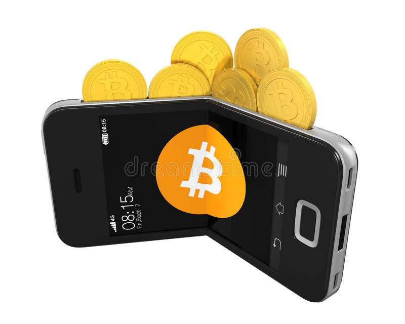 Bitcoin Wallet Concept Isolated. On white background. 3D render royalty free illustration