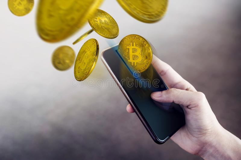 Bitcoin Wallet on Smartphone Concept, Woman using Mobile Phone t royalty free stock images
