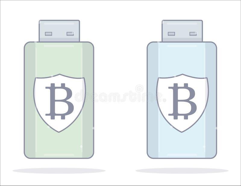 Bitcoin wallet. Usb flash drive. Cartoon style. royalty free illustration