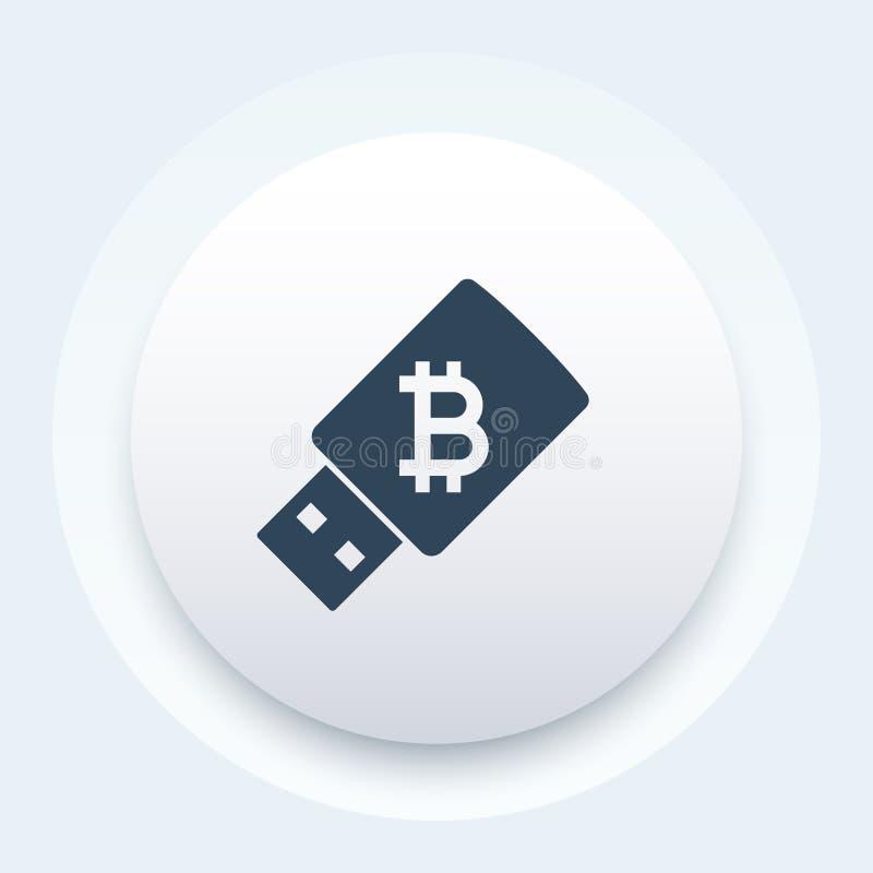 Bitcoin wallet on usb stick vector illustration