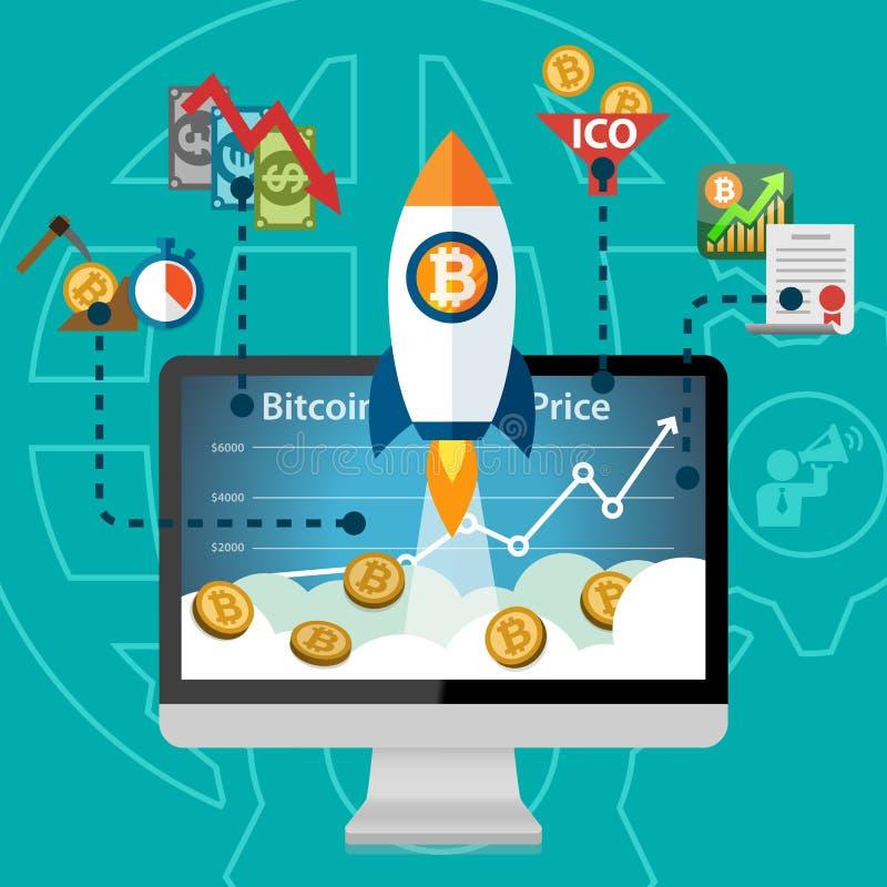 Bitcoin waluty ceny Elektroniczna Crypto rakieta Podnosi rosnącego royalty ilustracja