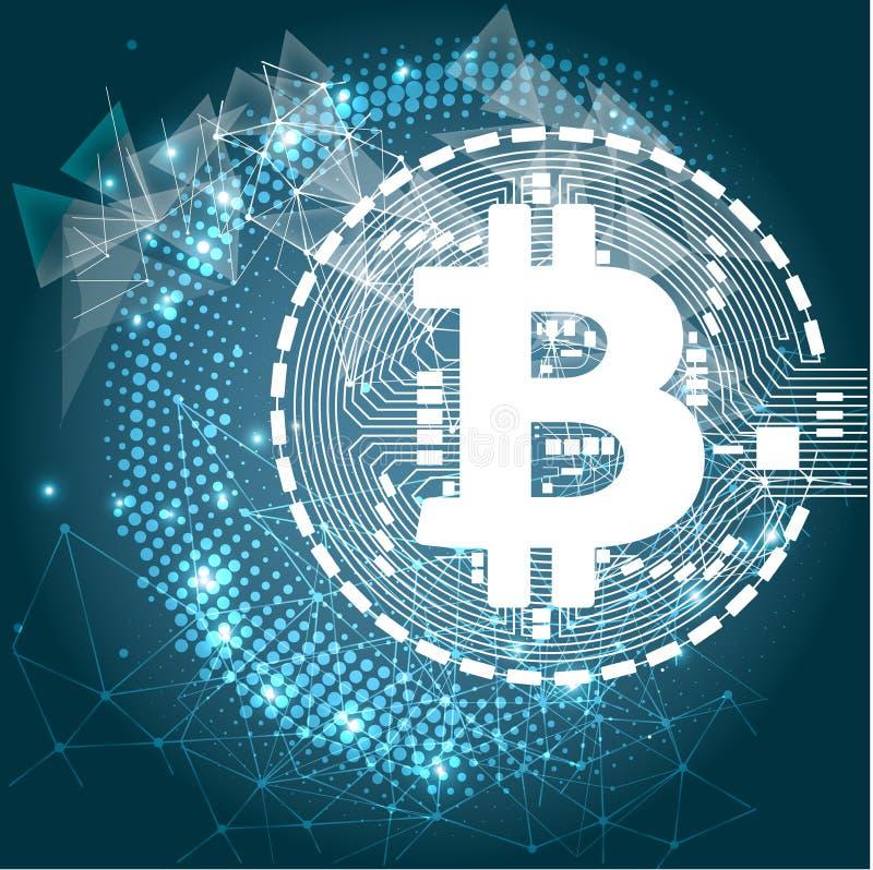 Bitcoin waluty crypto blockchain płaski logo błękitny tło Blokowego łańcuchu bitcoin majcher dla sieci lub druku ilustracji