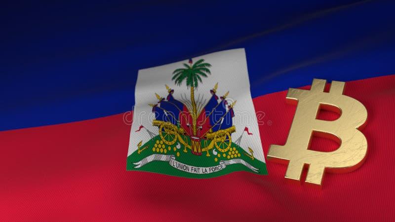 Bitcoin waluty symbol na flaga Haiti zdjęcia royalty free