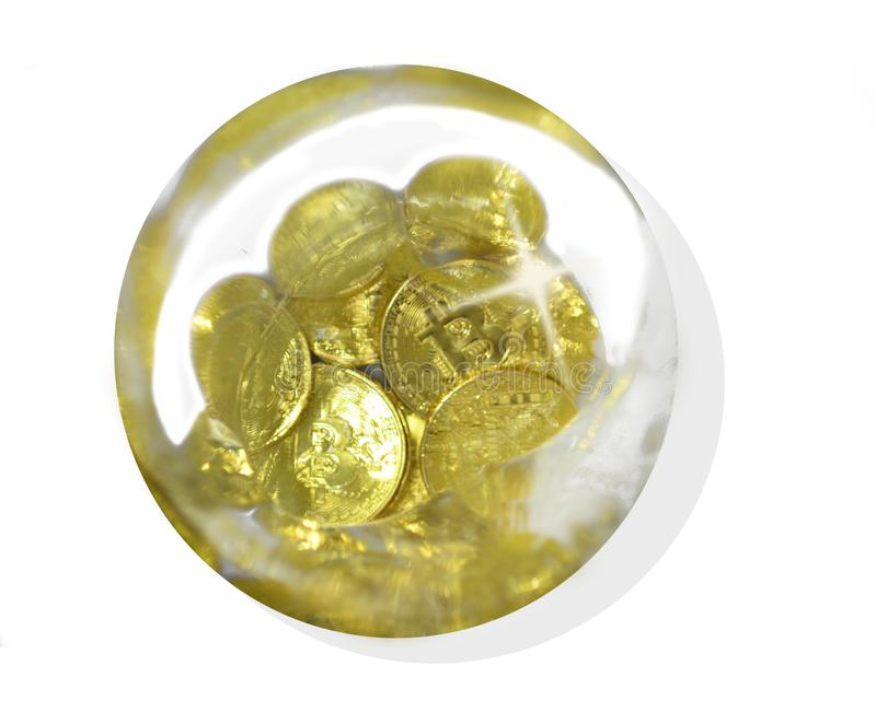 A bitcoin water bubble royalty free stock photography