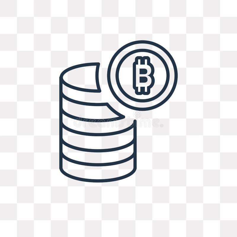 Bitcoin wektorowa ikona odizolowywająca na przejrzystym tle, liniowy b ilustracja wektor