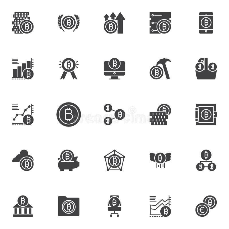 Bitcoin wektorowe ikony ustawiać ilustracja wektor