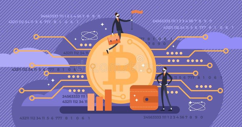 Bitcoin wektoru ilustracja Płascy mini persons z wirtualnym pieniądze pojęciem ilustracja wektor