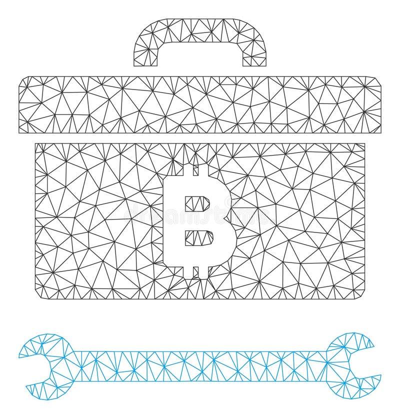 Bitcoin-Werkzeugkasten-Vektor Mesh Carcass Model lizenzfreie abbildung