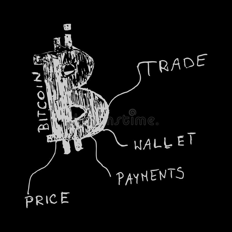 Bitcoin wit art. royalty-vrije stock foto