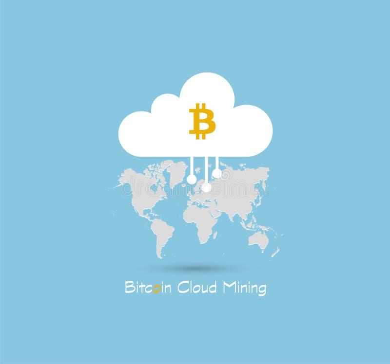 Bitcoin-Wolken-Bergbau oder Hashingsymbol auf Hintergrund des blauen Himmels mit grauer Weltkarte Schlüssel-Währung Geschäft, Tec stock abbildung