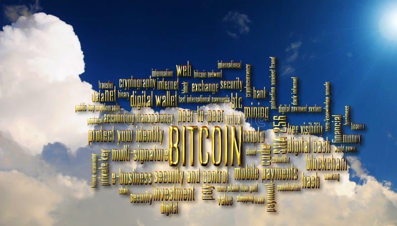 Bitcoin word cloud stock illustration