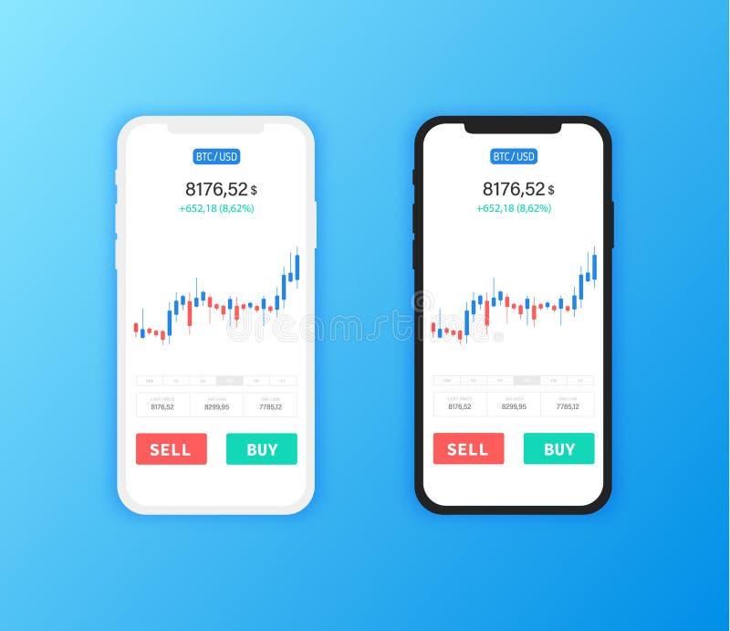 Bitcoin wymiana Cryptocurrency technologia Smartphone wiszącej ozdoby UI projekta Czysty pojęcie Modna Mobilna bankowość pieniężn ilustracja wektor